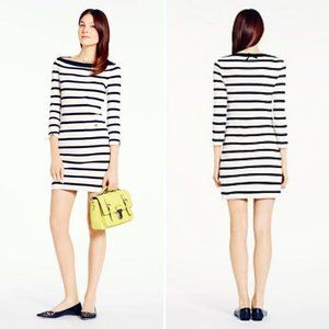 Kate Spade NY White Black Striped 3/4 Sleeve Dress